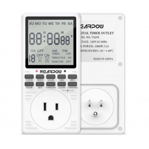7-Day Cycle Digital Timer Switch - LCD Display, 19 Programmable Settings, Seconds-Interval, 15A/...
