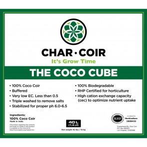 Char Coir Coco Cube Hydrated - 18/Case (36/Pallet)